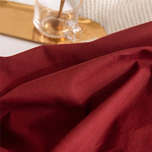 Mucalis Burgundy Duvet Cover Queen 100 Washed Cotton Duvet Cover Set FullQueen 3pc Solid Modern Farmhouse Bedding Duvet Cover Set With Zipper Closure Corner Ties No Comforter 0 5