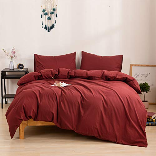 Mucalis Burgundy Duvet Cover Queen 100 Washed Cotton Duvet Cover Set FullQueen 3pc Solid Modern Farmhouse Bedding Duvet Cover Set With Zipper Closure Corner Ties No Comforter 0