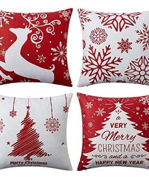 NANAN Christmas Pillow Covers 18x18 Inch Set Of 4 Decorative Farmhouse Throw Pillow Covers Holiday Rustic Pillow Cases For Sofa Couch Home Decor Christmas Decorations Xmas Cushion Covers 0 300x360