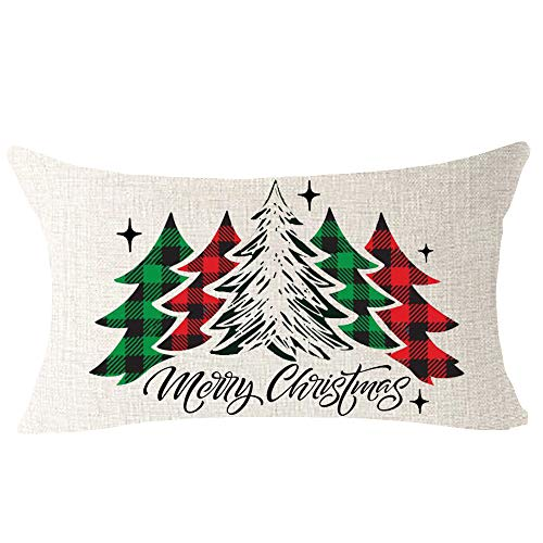 NIDITW Set Of 4 Nice Gift Merry Christmas Pine Trees Snow Scene Let It Snow Buffalo Check Plaid Cotton Linen Decor Lumbar Christmas Throw Pillow Covers Cushion Case For Sofa Room 12X20 Inches Green 0 1