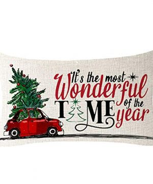 NIDITW Set Of 4 Nice Gift Merry Christmas Pine Trees Snow Scene Let It Snow Buffalo Check Plaid Cotton Linen Decor Lumbar Christmas Throw Pillow Covers Cushion Case For Sofa Room 12X20 Inches Green 0 2 300x360