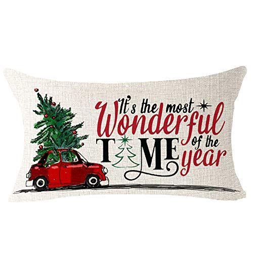 NIDITW Set Of 4 Nice Gift Merry Christmas Pine Trees Snow Scene Let It Snow Buffalo Check Plaid Cotton Linen Decor Lumbar Christmas Throw Pillow Covers Cushion Case For Sofa Room 12X20 Inches Green 0 2