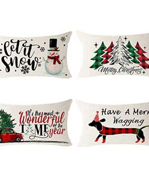 NIDITW Set Of 4 Nice Gift Merry Christmas Pine Trees Snow Scene Let It Snow Buffalo Check Plaid Cotton Linen Decor Lumbar Christmas Throw Pillow Covers Cushion Case For Sofa Room 12X20 Inches Green 0 300x360