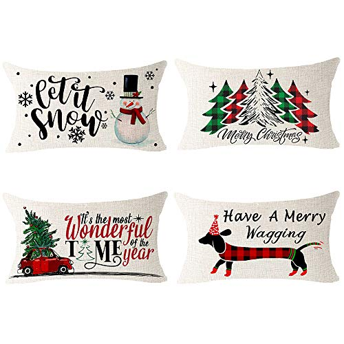 NIDITW Set Of 4 Nice Gift Merry Christmas Pine Trees Snow Scene Let It Snow Buffalo Check Plaid Cotton Linen Decor Lumbar Christmas Throw Pillow Covers Cushion Case For Sofa Room 12X20 Inches Green 0