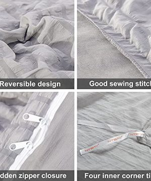 NTBAY Seersucker King Textured Duvet Cover Set 3 Pieces 1 Duvet Cover 2 Pillow Cases Light Grey Stripe Washed Microfiber Comforter Cover With Zipper Closure King 104x90 Inches Light Grey 0 0 300x360