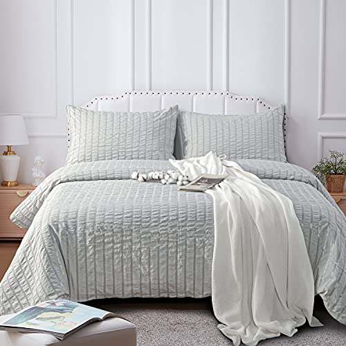 NTBAY Seersucker King Textured Duvet Cover Set 3 Pieces 1 Duvet Cover 2 Pillow Cases Light Grey Stripe Washed Microfiber Comforter Cover With Zipper Closure King 104x90 Inches Light Grey 0 1