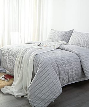 NTBAY Seersucker King Textured Duvet Cover Set 3 Pieces 1 Duvet Cover 2 Pillow Cases Light Grey Stripe Washed Microfiber Comforter Cover With Zipper Closure King 104x90 Inches Light Grey 0 2 300x360