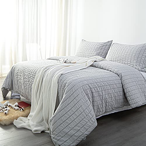 NTBAY Seersucker King Textured Duvet Cover Set 3 Pieces 1 Duvet Cover 2 Pillow Cases Light Grey Stripe Washed Microfiber Comforter Cover With Zipper Closure King 104x90 Inches Light Grey 0 2
