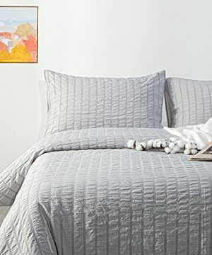 NTBAY Seersucker King Textured Duvet Cover Set 3 Pieces 1 Duvet Cover 2 Pillow Cases Light Grey Stripe Washed Microfiber Comforter Cover With Zipper Closure King 104x90 Inches Light Grey 0 3 300x360
