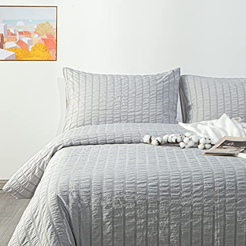 NTBAY Seersucker King Textured Duvet Cover Set 3 Pieces 1 Duvet Cover 2 Pillow Cases Light Grey Stripe Washed Microfiber Comforter Cover With Zipper Closure King 104x90 Inches Light Grey 0 3