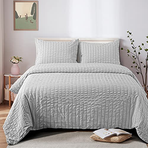 NTBAY Seersucker King Textured Duvet Cover Set 3 Pieces 1 Duvet Cover 2 Pillow Cases Light Grey Stripe Washed Microfiber Comforter Cover With Zipper Closure King 104x90 Inches Light Grey 0
