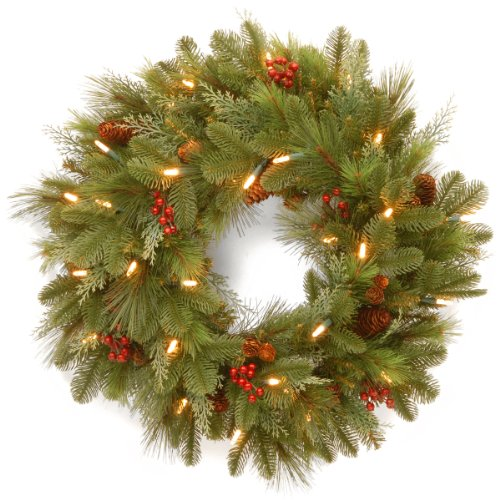 National Tree 24 Inch Noelle Wreath With 30 Battery Operated Soft White LED Lights NL13 300L 24WB1 0