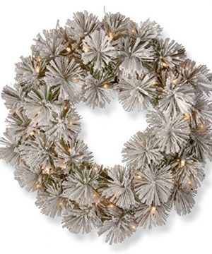 National Tree 24 Inch Snowy Bristle Pine Wreath With 50 Warm White Battery Operated LED Lights With Timer SNP1 307 24W B1 0 300x360