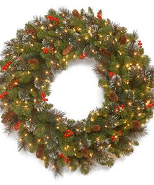 National Tree 30 Inch Crestwood Spruce Wreath With Cones Glitter Red Berries Silver Bristle And 50 Battery Operated Warm White LED Lights CW7 309L 30W B1 0 300x360
