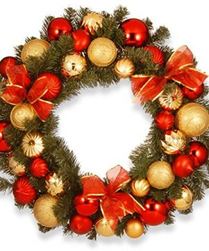 National Tree 30 Inch Gold And Red Mixed Ornament Wreath RAC 16001 0 300x360