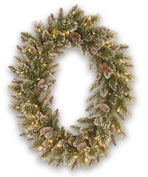National Tree 30 Inch By 21 Inch Glittery Bristle Pine Oval Wreath With Cones And 50 Battery Operated Warm White LED Lights GB3 307 30WBC 0 300x360