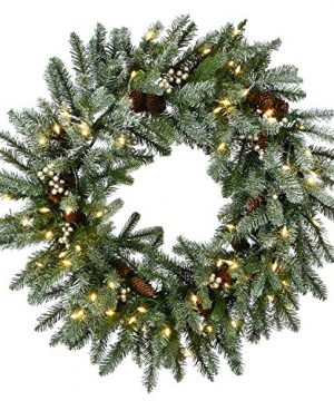 National Tree Company 30 Snowy Morgan Spruce Wreath With Battery Operated LED Lights Green 0 300x360