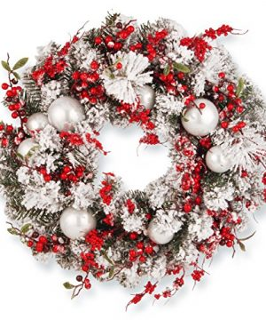 National Tree Company Artificial Christmas Wreath Flocked With Red And White Mixed Decorations 24 Inch Holiday 0 300x360