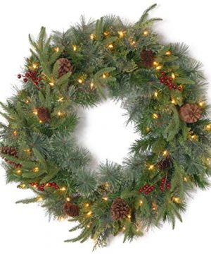 National Tree Company Feel Real Pre Lit Artificial Christmas Wreath Flocked With Mixed Decorations And Pre Strung LED Lights Colonial 24 Inch 0 300x360