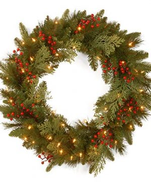 National Tree Company Feel Real Lit Artificial Christmas Wreath Flocked With Mixed Decorations And Pre Strung White LED Lights 24 Inch Classical Collection 0 300x360