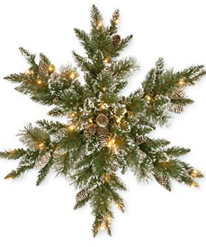 National Tree Company Pre Lit Artificial Christmas Star Shaped Wreath Includes Pre Strung White LED Lights Glittery Bristle Pine 32 Inch 0 300x360