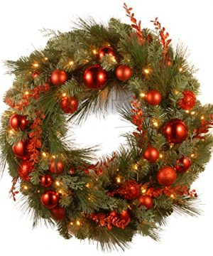 National Tree Company Pre Lit Artificial Christmas Wreath Decorative Collection Flocked With Mixed Decorations And Pre Strung White LED Lights Red Mixed 24 Inch 0 300x360