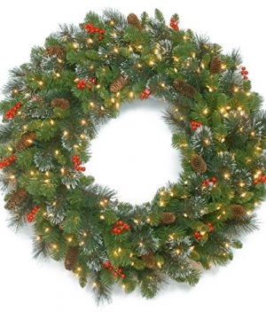 National Tree Company Pre Lit Artificial Christmas Wreath Flocked With Mixed Decorations And Pre Strung LED Lights Crestwood Spruce 30 Inch 0 300x360