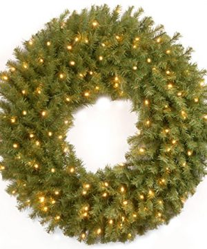 National Tree Company Pre Lit Artificial Christmas Wreath Includes Pre Strung LED Lights Norwood Fir 30 Inch 0 300x360