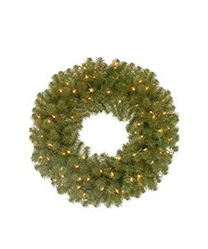 National Tree Company Pre Lit Artificial Christmas Wreath Includes Pre Strung Multi Color LED Lights North Valley Spruce 24 Inch 0 300x360