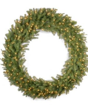 National Tree Company Pre Lit Artificial Christmas Wreath Includes Pre Strung White Lights Norwood Fir 60 Inch 0 300x360