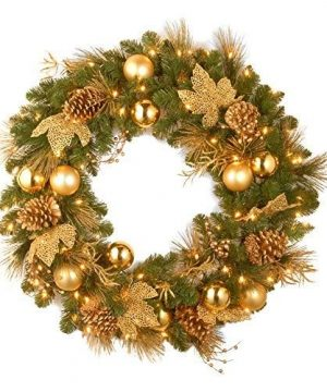 National Tree Company Lit Artificial Christmas Wreath Collection Flocked With Mixed Decorations And Pre Strung White LED Lights 24 Inch Elegance 0 300x360