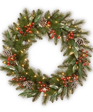 National Tree Company Lit Artificial Christmas Wreath Collection Flocked With Mixed Decorations And Pre Strung White LED Lights 30 Inch Frosted Pine 0 300x360
