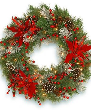 National Tree Company Lit Artificial Christmas Wreath Collection Flocked With Mixed Decorations And Pre Strung White LED Lights 30 Inch Tartan Plaid 0 300x360