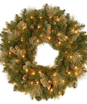 National Tree Company Lit Artificial Christmas Wreath Flocked With Cones And Pre Strung LED Lights Carolina Pine 24 Inch 24 In 0 300x360
