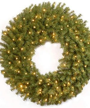 National Tree Company Lit Artificial Christmas Wreath Includes Pre Strung Multi Color LED Lights Norwood Fir 36 Inch 36 In 0 300x360