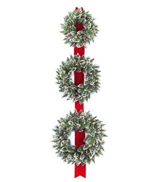 National Tree Set Of 3 Wreath Door Decor Piece With 100 Warm White Battery Operated Twinkle LED Lights GB1 300LT 18W B 0 300x360