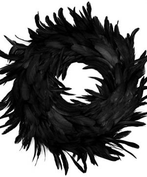 Natural Feathers Wreath 1375 In Black For Halloween Decorations Spooky Scene Party Favors Halloween Photo Props Trick Of Treat Front Door 0 300x360