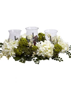 Nearly Natural 4806 Snowball Hydrangea Triple Candelabrum Color White Christmas Decoration 0 300x360