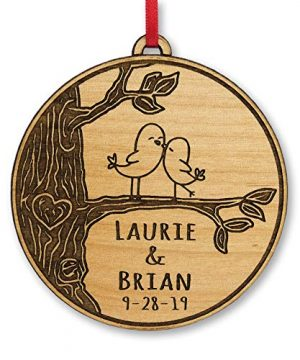 Newlywed Christmas Ornament Lovebirds Personalized Heart Tree Trunk Design Mr Mrs Wedding Date Name Engraved Couples Our First For Him Her Engagement Together Simple 0 300x360