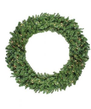 Northlight Pre Lit Canadian Pine Artificial Christmas Wreath 48 Inch Clear Lights 0 300x360