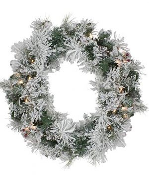 Northlight Pre Lit Flocked Victoria Pine Artificial Christmas Wreath 24 Inch Clear Lights 0 300x360