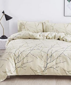 OAITE Duvet Cover Set 100 Cotton Duvet Cover Ultra Soft And Easy Care Bedding Twin Queen King Size Set 3 Piece Duvet Cover Set Includes 2 Pillow Shams Ivory Branch King 0 300x360