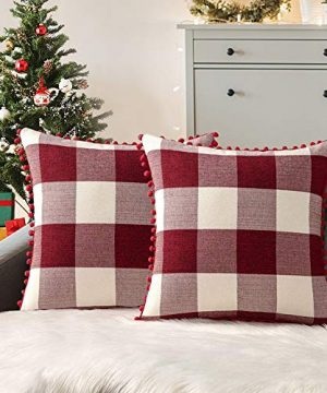 ORANIFUL Buffalo Plaid Pillow Covers 18x18 Inches Farmhouse Check Decorative Throw Pillow Cases With Pom Poms Zippered Christmas Set Of 2 For Couch Bedroom Car 45X45cm Red White 0 300x360