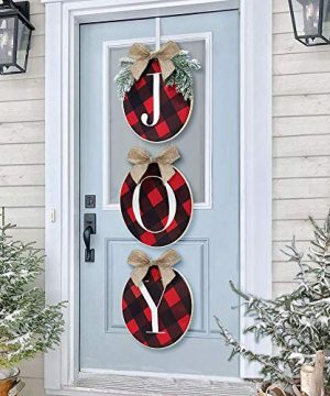 ORIENTAL CHERRY Christmas Decorations Joy Sign Buffalo Check Plaid Wreath For Front Door Rustic Burlap Wooden Holiday Decor For Home Window Wall Farmhouse Indoor Outdoor 0 300x360