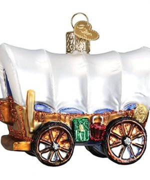Old World Christmas Cowboy Pioneer Collection Glass Blown Ornaments For Christmas Tree Covered Wagon 0 300x360