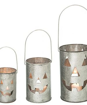 One Holiday Way Set Of 3 Rustic Galvanized Metal Jack O Lantern Pumpkin Decorative Halloween LED Votive Candle Holder Lanterns Indoor Outdoor Decoration Spooky Country Farmhouse Party Home Decor 0 300x360