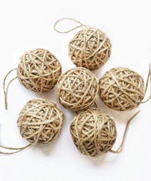 Orbs Decorative Balls Set Of 6 For Bowls Jute Farmhouse Christmas Ornaments 2020 Natural Christmas Tree Ornaments Rustic Ball Ornaments For Christmas Tree Decor 0 300x360