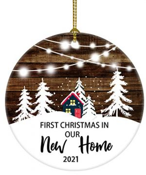 Our First Christmas In Our New Home Christmas Tree House Ornament Christmas Wedding Decoration Couple Gift Newlywed Couple 2021 White And Brown New Home 0 300x360