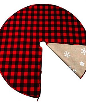 OurWarm 48 Inch Christmas Tree Skirt Red And Black Buffalo Plaid Christmas Tree Skirt Double Sided Burlap Tree Skirt Snowflake Xmas Tree Skirt For Holiday Rustic Vintage Christmas Decorations 0 300x360
