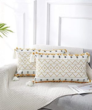 PANOD Pack Of 2 Knitted Boho Throw Pillow CoversNatural Cotton Hand Woven Tufted Decorative Tassel Hug Lumbar Pillowcase For Couch Sofa Bedroom Living Room Farmhouse12x20 Inch Yellow 0 300x360